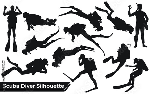 Obraz na plátně Collection of Scuba Diver silhouettes in different poses