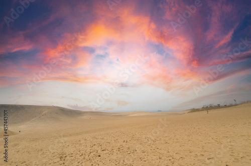 Fototapeta 鳥取砂丘の夕焼け