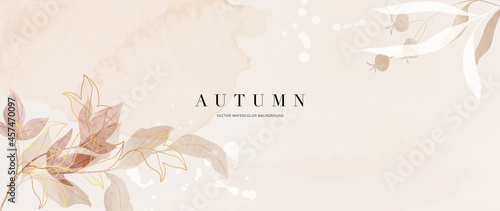 Fotografie, Obraz Autumn background design  with watercolor brush texture, Flower and botanical leaves watercolor hand drawing