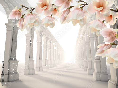 Canvas-taulu 3d picture colonnade with orchid flowers