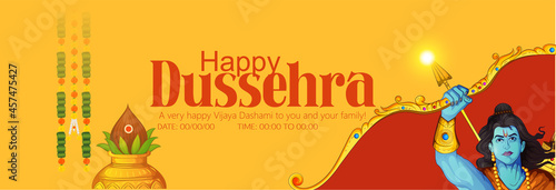 Fototapeta illustration of Bow and Arrow in Happy Dussehra festival of India background wit
