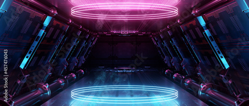 Photographie Blue and pink spaceship interior with glowing neon lights podium on the floor