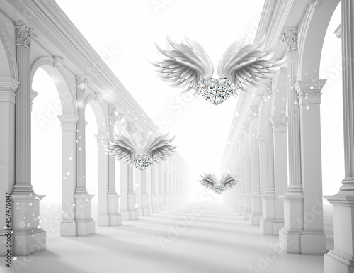 3d picture gray colonnade with wings Fotobehang