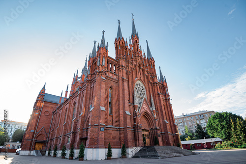 Fototapeta The Cathedral of the Immaculate Conception of the Holy Virgin Mary in Moscow, Russia, a neo-Gothic Catholic Church