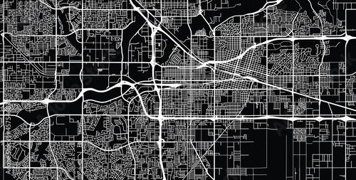 Vászonkép Urban vector city map of Bakersfield, California , United States of America