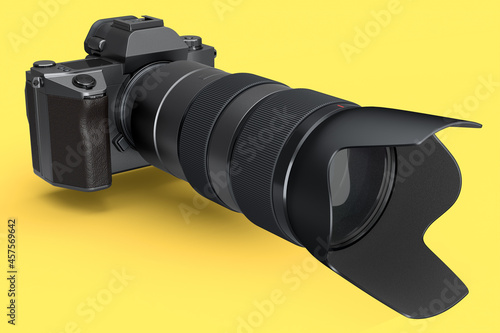 Concept of nonexistent DSLR camera with lens isolated on a yellow background Fotobehang