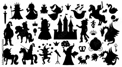 Fotografie, Obraz Fairy tale characters and objects silhouettes collection