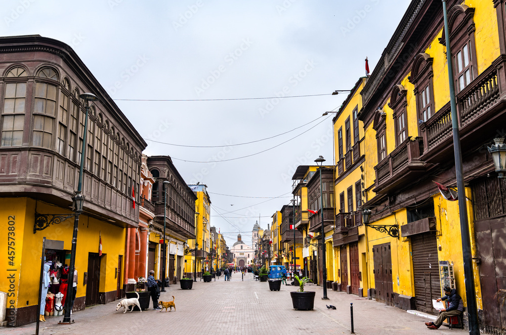 Colonial buildings with balconies in Lima, Peru