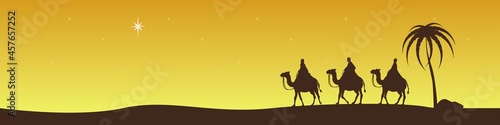 The sages from the east ride camels and look at the Star of Bethlehem Fotobehang