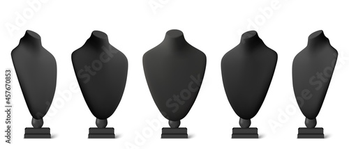 Fotografie, Obraz Realistic black stands for jewelry
