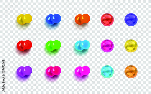 Fotografering Vector Set of Colorful Push Pins Isolated on Light Transparent Background, Pin Buttons with Shadows, Different Bright Colors