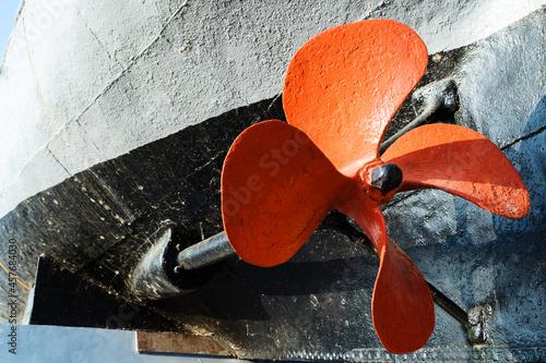 Fototapeta The propeller of a large, old ship
