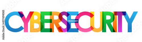 Fotografia CYBERSECURITY colorful vector typography banner on white background