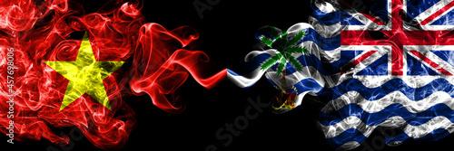 Obraz na plátně Vietnam, Vietnamese vs British, Britain, Indian Ocean Territory smoke flags side by side