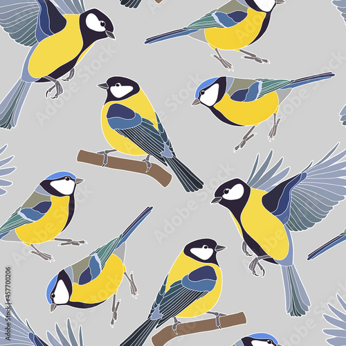 Fotografie, Obraz Seamless background. Beautiful tits. Yellow-blue little birds.