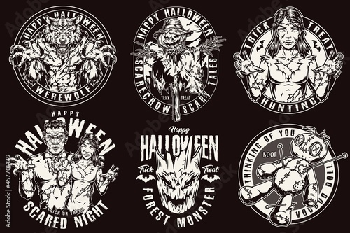 Photo Happy Halloween vintage labels