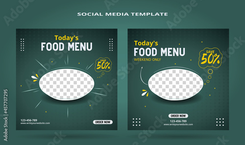 Social Media Banner Post Templates and feed posts, sales pitches, culinary promotions.