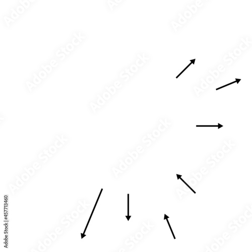 Fotografie, Obraz Radial, radiating arrows, pointers in opposite direction for mix, diverge concep