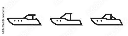 Obraz na plátně powerboat line icon set