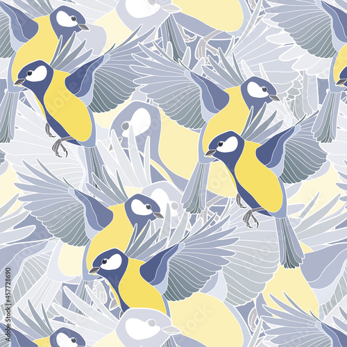 Obraz na plátně Seamless background. Beautiful tits. Yellow-blue little birds.