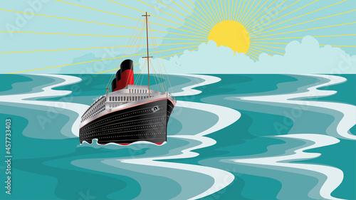 Fotografie, Obraz Retro ship in the sea