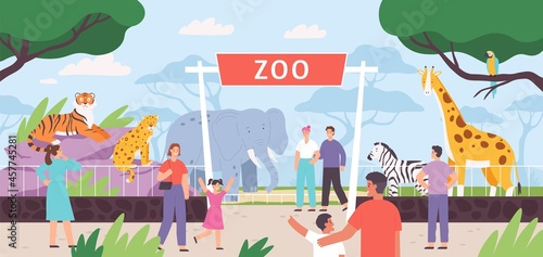 Fototapeta premium Flat zoo entrance gates with visitor family and kids. Cartoon safari park with people and african savannah animals in cages vector landscape