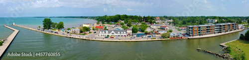 Fotografie, Obraz Aerial panorama scene of Port Dover, Ontario, Canada waterfront