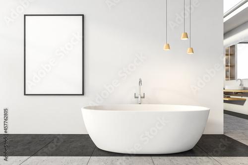 Close view on bright bathroom interior with bathtub, empty poster Fototapet