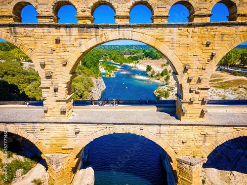 The aerial view of the Pont du Gard, an ancient tri-level Roman aqueduct bridge Fototapete