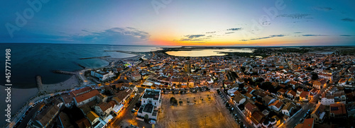 фотография The aerial view of Saintes-Maries-de-la-Mer,  the capital of the Camargue in the
