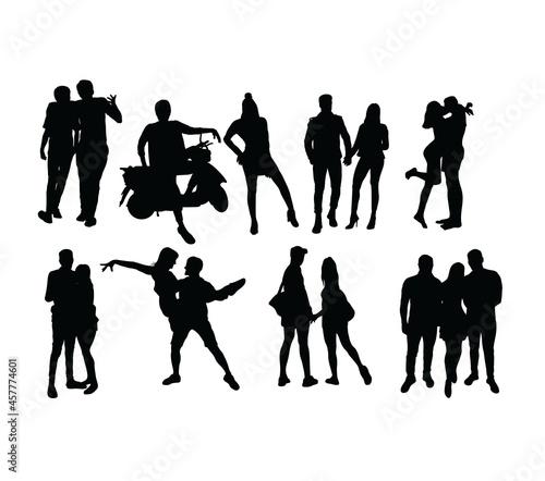 Fotografia Couple People Activity Silhouettes, art vector design
