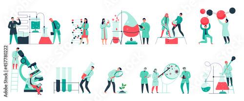 Billede på lærred Colorful icons set with biochemical science laboratory staff performing various