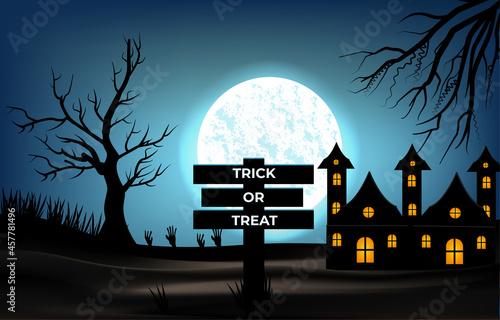 Fotografia Halloween background, full moon and barren tree vector illustration