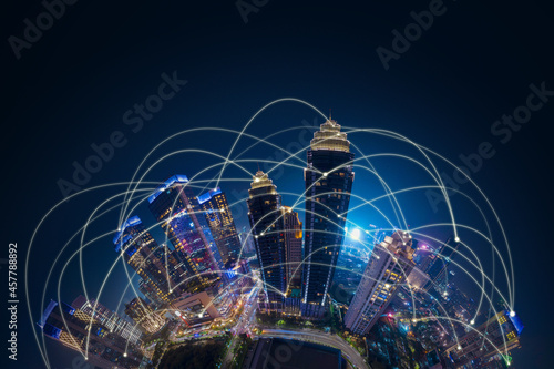 Glowing smart city with network connection Fototapet