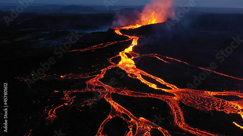 Fotografiet Aerial view over volcanic eruption, Night view, Mount Fagradalsfjall lava spill