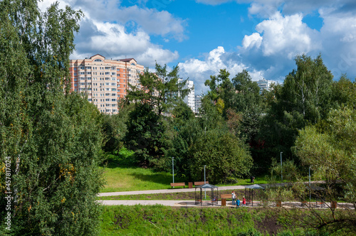 Canvastavla City boulevard with alcove in Zelenograd in Moscow, Russia
