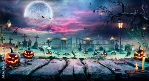 Fotografie, Obraz halloween landscape with moon