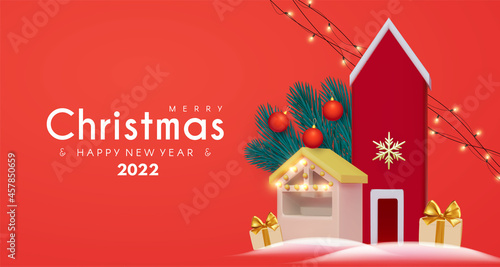 Fotografie, Obraz Merry Christmas and Happy New 2022 Year celebration with 3D cute house, market stall