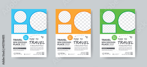 Fotografiet Travel flyer template design with contact and venue details