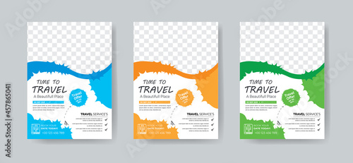 Canvastavla Travel flyer template design with contact and venue details