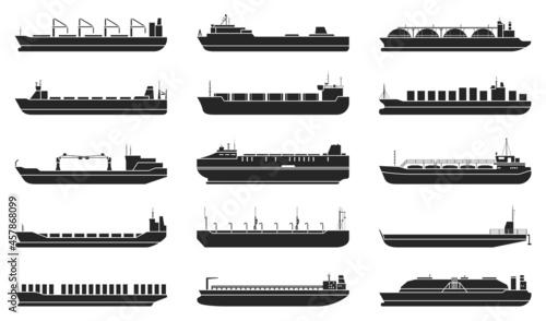 Fotografering Barge vector black set icon