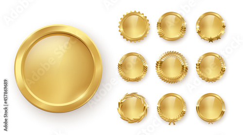 Fotografering Gold medal with laurel wreath, circle award set, 3d golden winner badge medallio