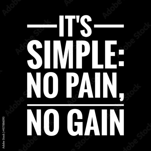 Wallpaper Mural ''It's simple: No pain, no gain'' Quote Illustration