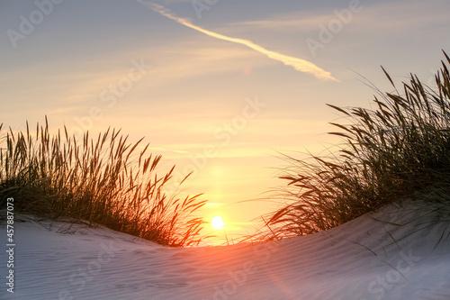 Obraz na plátně Gorgeous Sunset on the Coast of northern Jutland, Denmark, Europe