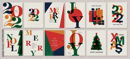 Set of creative colorful cards, flyers, posters for 2022 New Year. Numbers design. Christmas greetings.