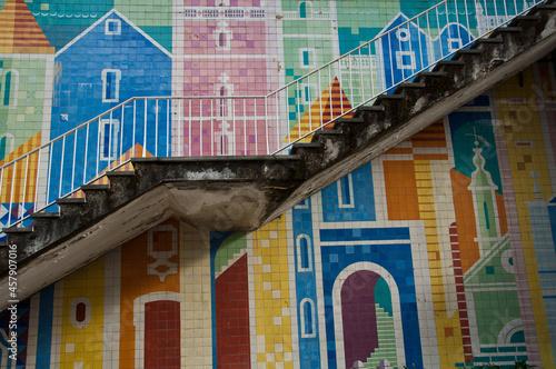 Modernist tiles in Av. Infante Santo building, Lisbon Fototapeta