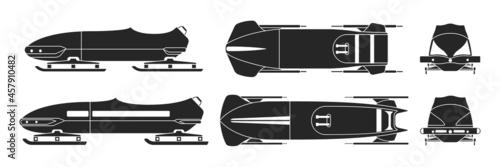 Bobsled isolated black set icon Fototapeta