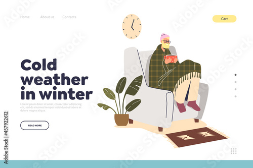 Fototapeta Cold weather in winter landing page concept with freezing man sit in armchair at