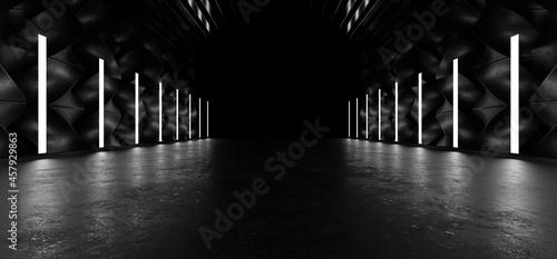Obraz na plátně A dark tunnel lit by white neon lights