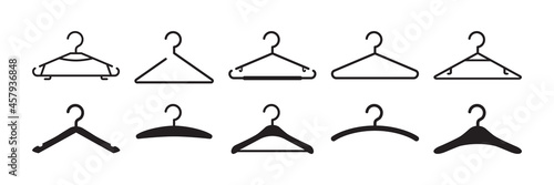Fotografie, Obraz Hanger clothes vector icon, hook for wardrobe, black silhouettes different shapes isolated on white background
